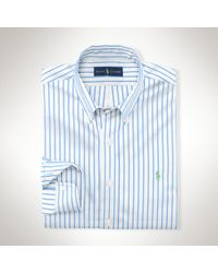 Ralph Lauren | Blue Striped Cotton Poplin Shirt for Men | Lyst
