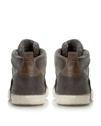 Dune - Gray Temper Leather Trainers for Men - Lyst