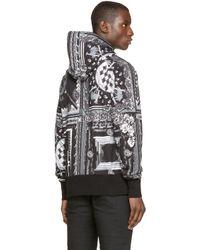 Versus - Black & White Scarf Print Hoodie for Men - Lyst