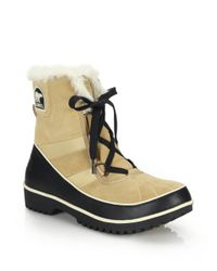 Sorel | Natural Tivoli Ii Faux Fur-trimmed Suede & Leather Lace-up Boots | Lyst
