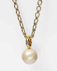 "kate spade new york Metallic Faux Pearl Pendant Necklace, 33"""