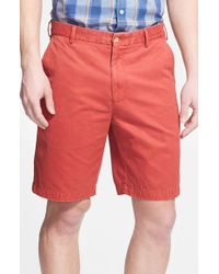 Peter Millar | Red 'winston' Washed Twill Flat Front Shorts for Men | Lyst