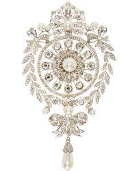 Givenchy Metallic Silver Pearl And Rhinestone Brooch