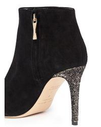 kate spade new york Black 'Niko' Coarse Glitter Heel Suede Ankle Boots