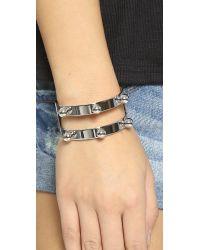 Joomi Lim Metallic Dot And Dash Sphere Bracelet - Rhodium