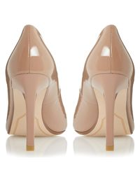 Dune Brown Alwen Pointed Toe Patent Court Shoes