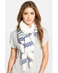 Halogen | Blue 'Dot To Dot' Border Wrap | Lyst