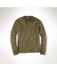 Polo Ralph Lauren - Green Cotton Jersey Henley for Men - Lyst