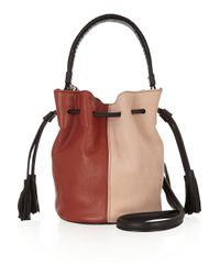 Newbark Brown Gaia Leather And Suede Bucket Bag