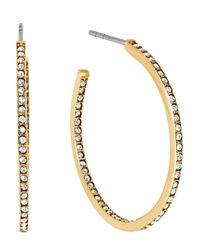 Michael Kors | Metallic Pavé Small Inside Out Hoop Earrings | Lyst