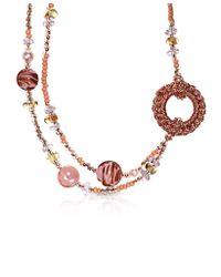 Antica Murrina Avant Gard 2 Pink Murano Glass Long Necklace