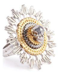 Alexander McQueen - Metallic Skull And Flower Ring - Lyst
