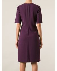 Tory Burch Purple Embellished Shift Dress