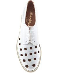 Robert Clergerie White Punch Hole Lace-Up Shoes