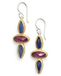 Anna Beck | Metallic Sapphire & Ruby Drop Earrings | Lyst