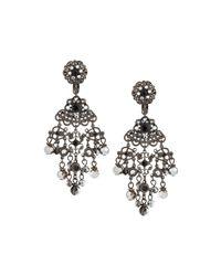 Jose & Maria Barrera - Metallic Gunmetal Crystal Chandelier Clip Earrings - Lyst