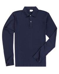 Sunspel - Blue Men's Long-staple Cotton Long Sleeve Jersey Polo Shirt for Men - Lyst