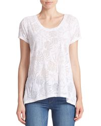 DKNY | White Scoop Neck Burnout Tee | Lyst