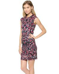 McQ Multicolor Cap Sleeve Dress Leopard Pixel Print