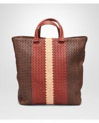 Bottega Veneta - Multicolor Edoardo Burnt Red Flamingo Intrecciato Club Fume Tote Bag for Men - Lyst