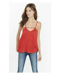 Express - Red Front Strap Trapeze Cami - Lyst