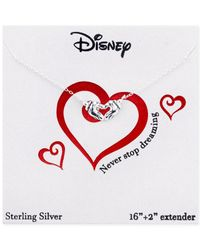 Disney | Metallic Mickey Mouse Heart Pendant Necklace In Sterling Silver | Lyst
