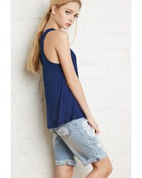 Forever 21 - Blue Ribbed Knit Racerback Tank - Lyst