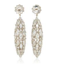 Sidney Garber Metallic 18k White Gold And Diamond Torchere Earrings