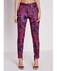 Missguided Anna Paisley Print Cigarette Trousers Pink