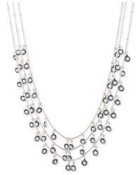 Anne Klein | Metallic Silver-tone Shaky Stone Frontal Necklace | Lyst