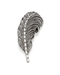 Oscar de la Renta - Metallic Pave Crystal Feather Pin - Lyst