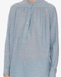 Nili Lotan - Blue Ruched Chambray Shirt - Lyst