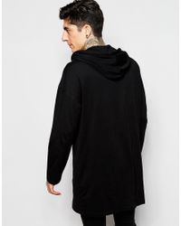 ASOS Black Oversized Super Longline Long Sleeve T-shirt With Hood In Slub Fabric for men