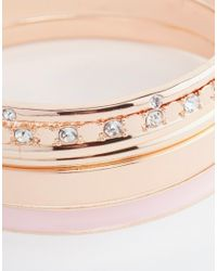 Lipsy | Pink Enamel And Stone Bangle Pack | Lyst