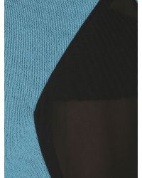 Izabel London Blue Mesh Panel Knit Top