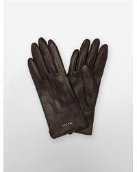 Calvin Klein | Brown White Label Leather Gloves | Lyst