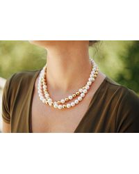 Eshvi | Back To School Yellow Gold Pearls Necklace | Lyst