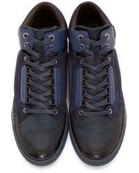 Lanvin | Blue Navy & Black Mid-top Sneakers for Men | Lyst