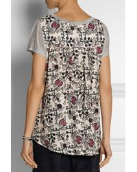 Thakoon Addition Gray Addition Jersey And Printed Eyelet-Cotton Top