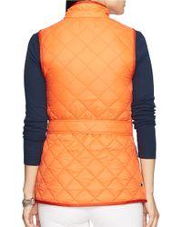 Lauren by Ralph Lauren Orange Petite Quilted Nylon Vest