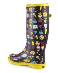Betsey Johnson - Multicolor Yellow Emoji Drizle Rain Boots - Lyst