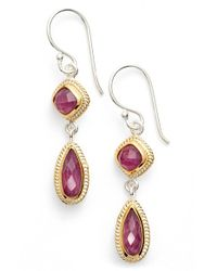 Anna Beck Pink Precious Stone Double Drop Earrings