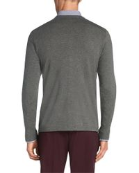 HUGO Gray Cardigan In A Cotton Blend With Silk And Cashmere: 'scardinus' for men