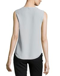 Laundry by Shelli Segal - Natural Sleeveless Keyhole-front Top - Lyst