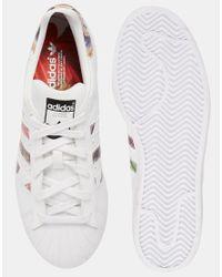 Adidas Originals   Originals White Superstar With Floral Trim Trainers   Lyst