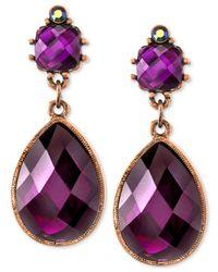 2028 - Metallic Burnished Copper-Tone Amethyst Drop Earrings - Lyst