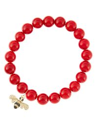 Sydney Evan - 8Mm Red Coral Beaded Bracelet With 14K Gold/Diamond Small Bee Charm (Made To Order) - Lyst