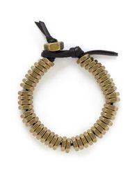 Giles & Brother Metallic Brass Nut Leather Bracelet for men