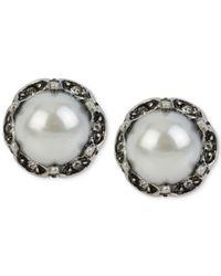 Betsey Johnson | Metallic Silver-tone Imitation Pearl Stud Earrings | Lyst