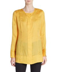 Donna Karan - Yellow Seamed Silk Tunic - Lyst